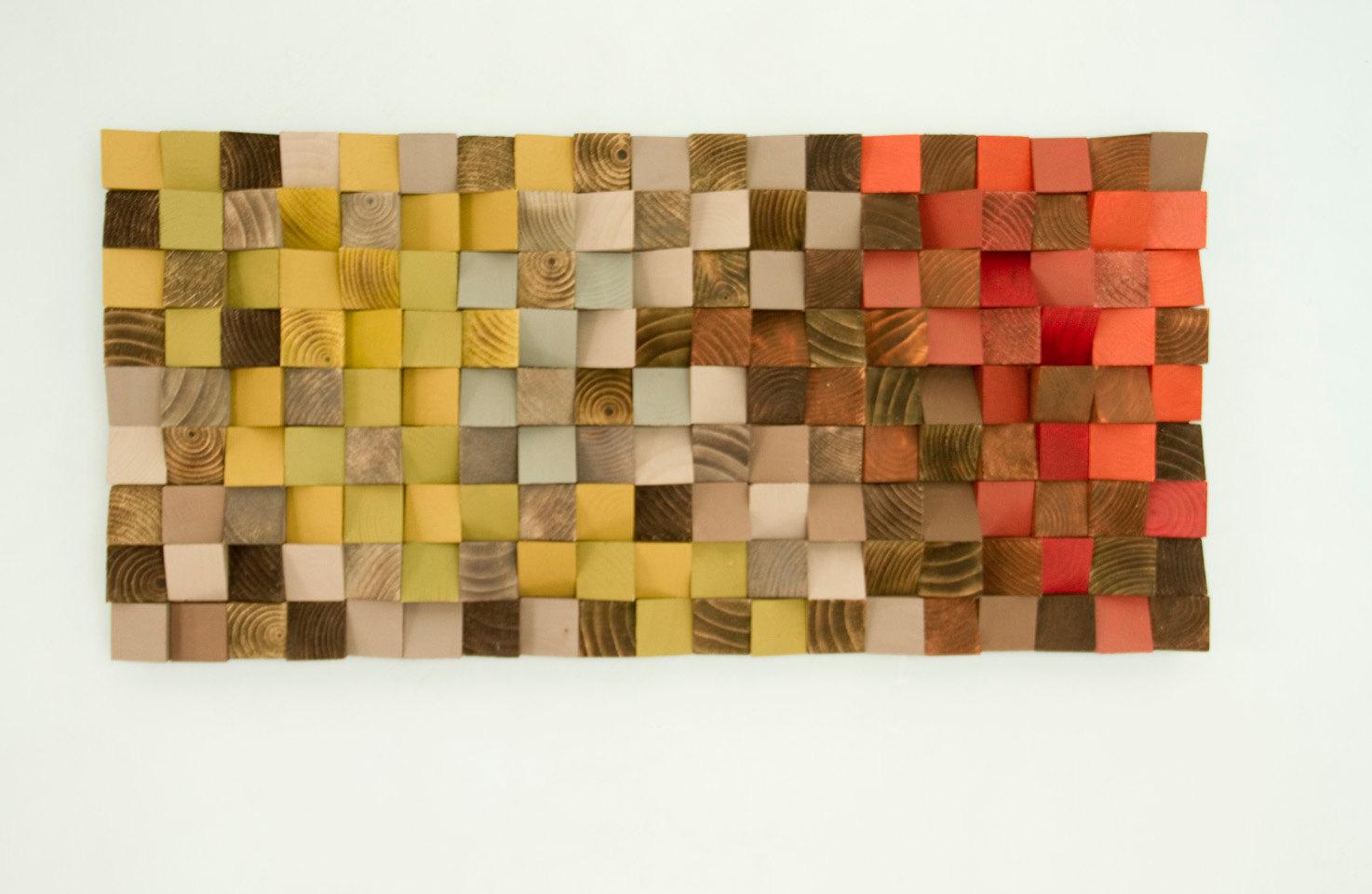"Reclaimed Wood Art, wood wall art industrial decor, ""Fire sparks"""