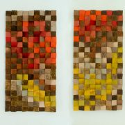 "Reclaimed Wood Art, wood wall art industrial decor set of 2, ""Fire sparks"""