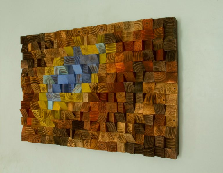 "Reclaimed wood wall art, Rustic wall art ""The Northern Lights"""