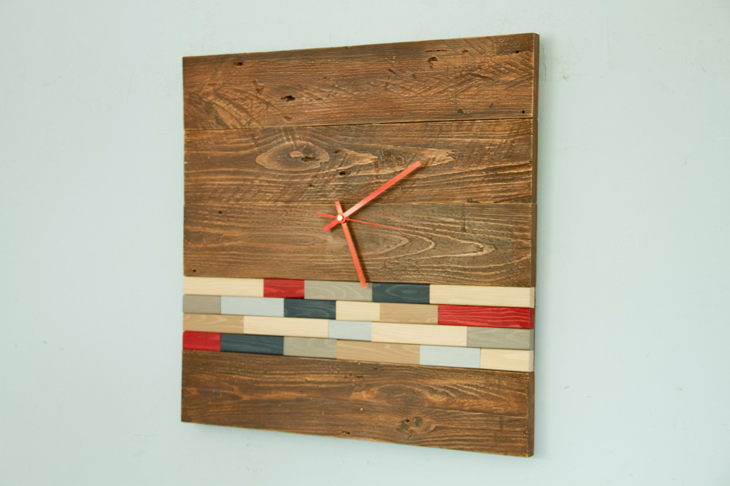 Reclaimed Wood wall Clock Modern, large wood clock with ...