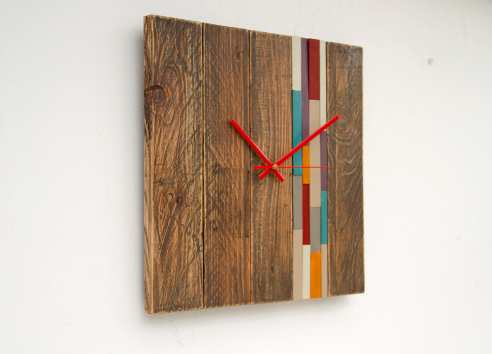 Reclaimed Wood wall Clock Modern, large wood clock with art accent, barn wood style