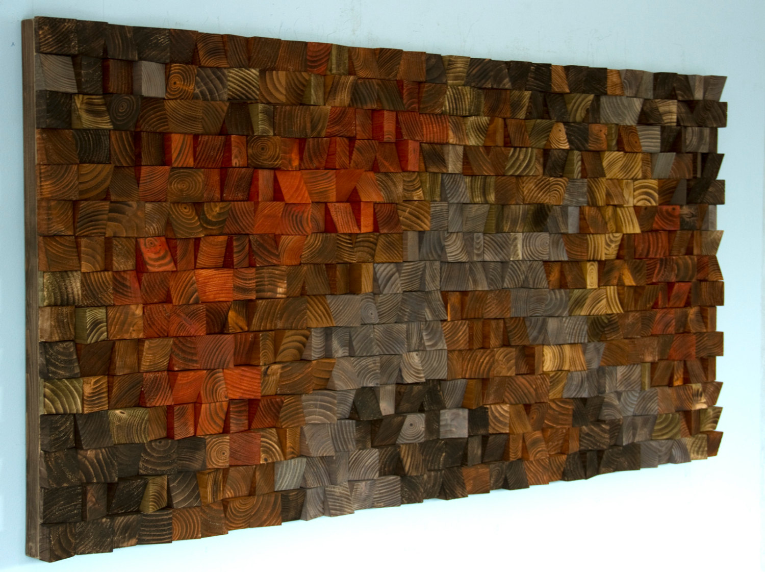 Rustic wood art wood wall sculpture abstract painting on for Mural on wood