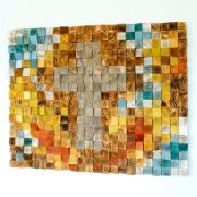 Wood 3D Cross Mosaic, Wood Wall Art,