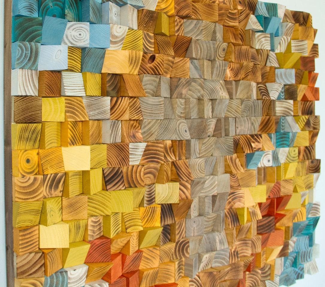 Wood 3D Cross Mosaic, Wood Wall Art,