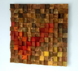 Wood Mosaic, reclaimed wood art, acrylic painting on wood