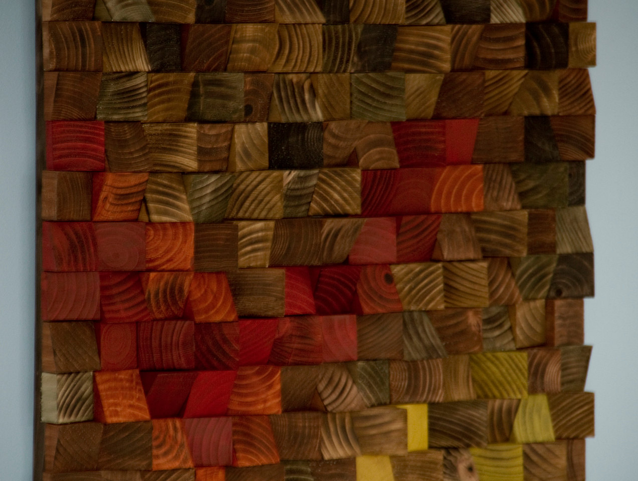 Wood Mosaic, reclaimed wood art, acrylic painting on wood