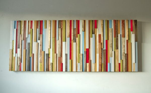 "Wood Wall Art 3D, wood sculpture, 24"" x 64"", painted wood pieces, headboard, mustard, red, beige, walnut, yew, oak"