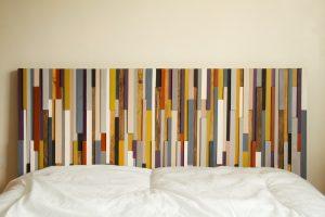"Wood Wall Art 3D, wood sculpture, 24"" x 64"", painted wood pieces, headboard, mustard, red, beige, walnut, yew, oak"