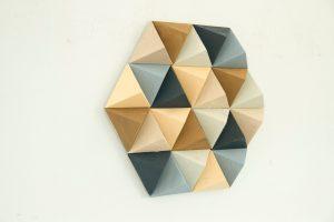 Wood Wall art geometric, hexagon, mid century wall art, SALE unique wood art by Kasia Mc Art