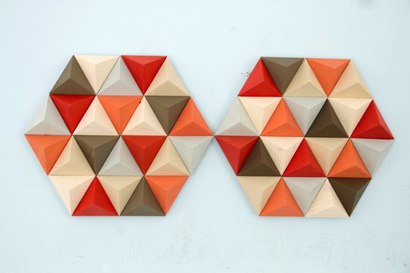 Wood Wall art geometric, hexagon, mid century wall art, SALE unique wood art by Kasia Mc Art