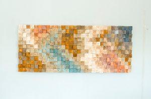 Wood Wall Art, geometric wood art, mid century art, mosaic, Spring 2016 colour trends