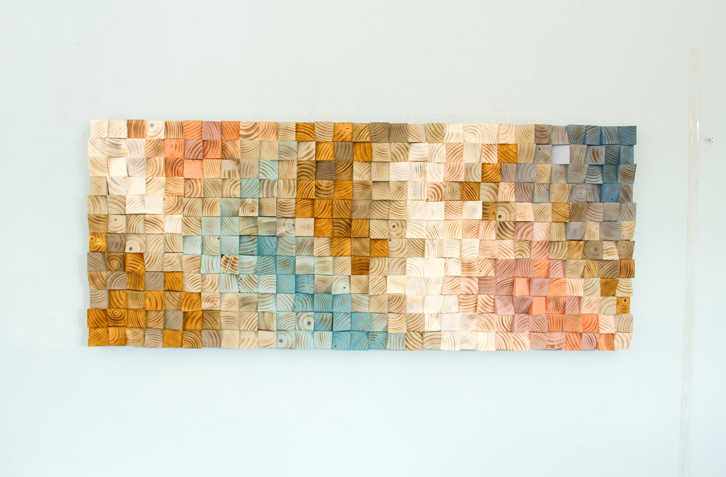 Wood Wall Art, geometric wood art, mid century art, mosaic, Spring 2016 colour trends