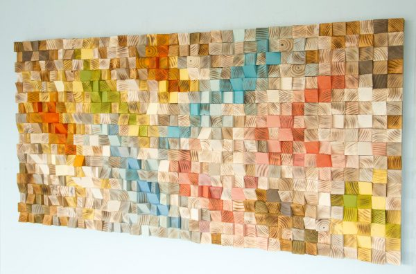 "Wood Wall Art, geometric wood art, mosaic, mid century colours, ""Spring"" , Spring 2016 colour trends"