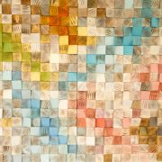 """Wood Wall Art, geometric wood art, mosaic, mid century colours, """"Spring"""" , Spring 2016 colour trends"""