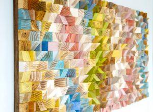 Wood Wall Art, geometric wood art, mosaic, Spring 2016 colour trends