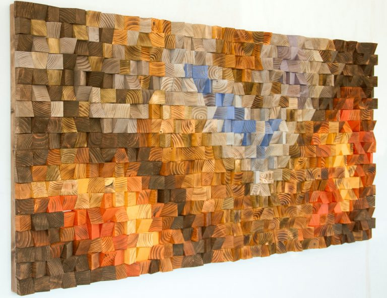 "Wood Wall Art, geometric wood art, mosaic, ""The Hell's Gate"" , Autumn 2016 colour trends"