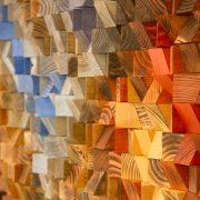 "Wood Wall Art, geometric wood art, mosaic, ""The Hell's Gate"" , Autumn 2016 colour trends"