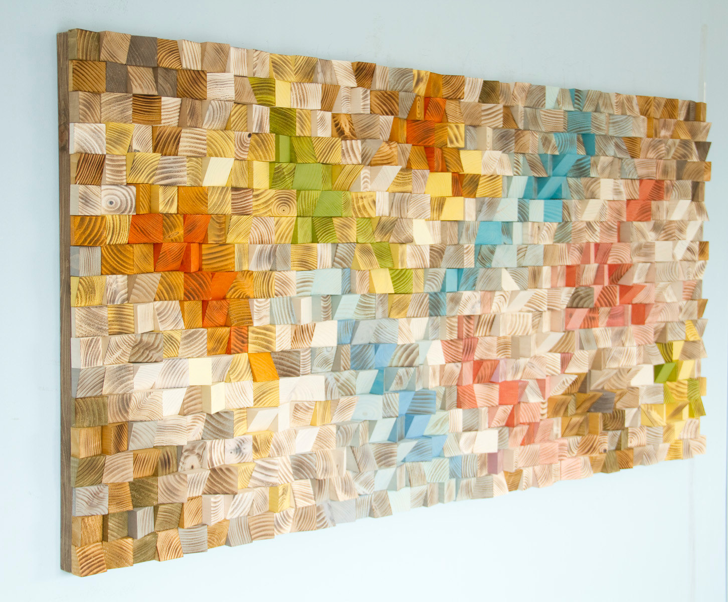 Large Wood wall Art, wood mosaic, geometric art, large art painting ...