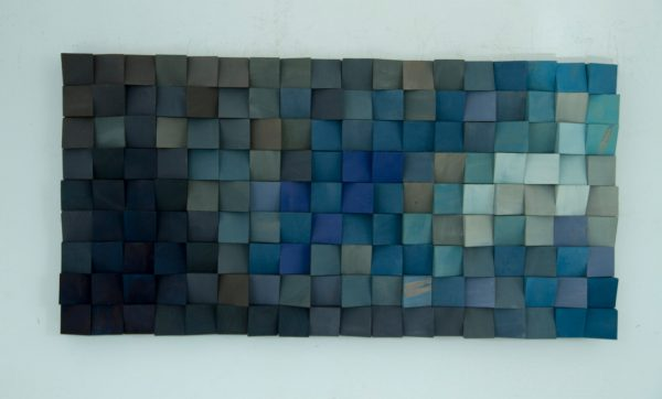 Wood Wall Art, monochromatic wood art in blues, new 2017 designs available in different colours
