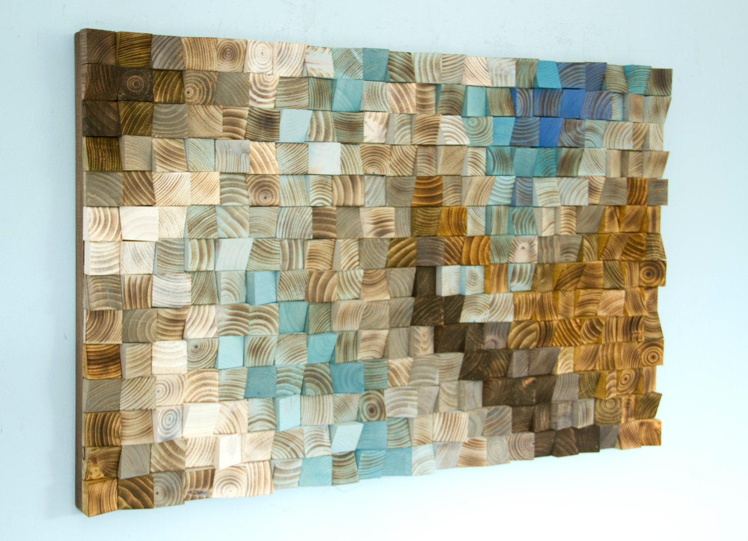 Wood wall art mosaic office wall decor geometric art 24 for Wall accessories