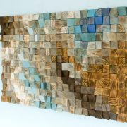 "Wood wall Art Mosaic, office wall decor, geometric art, 24"" x 36"" ""Fighting River"""