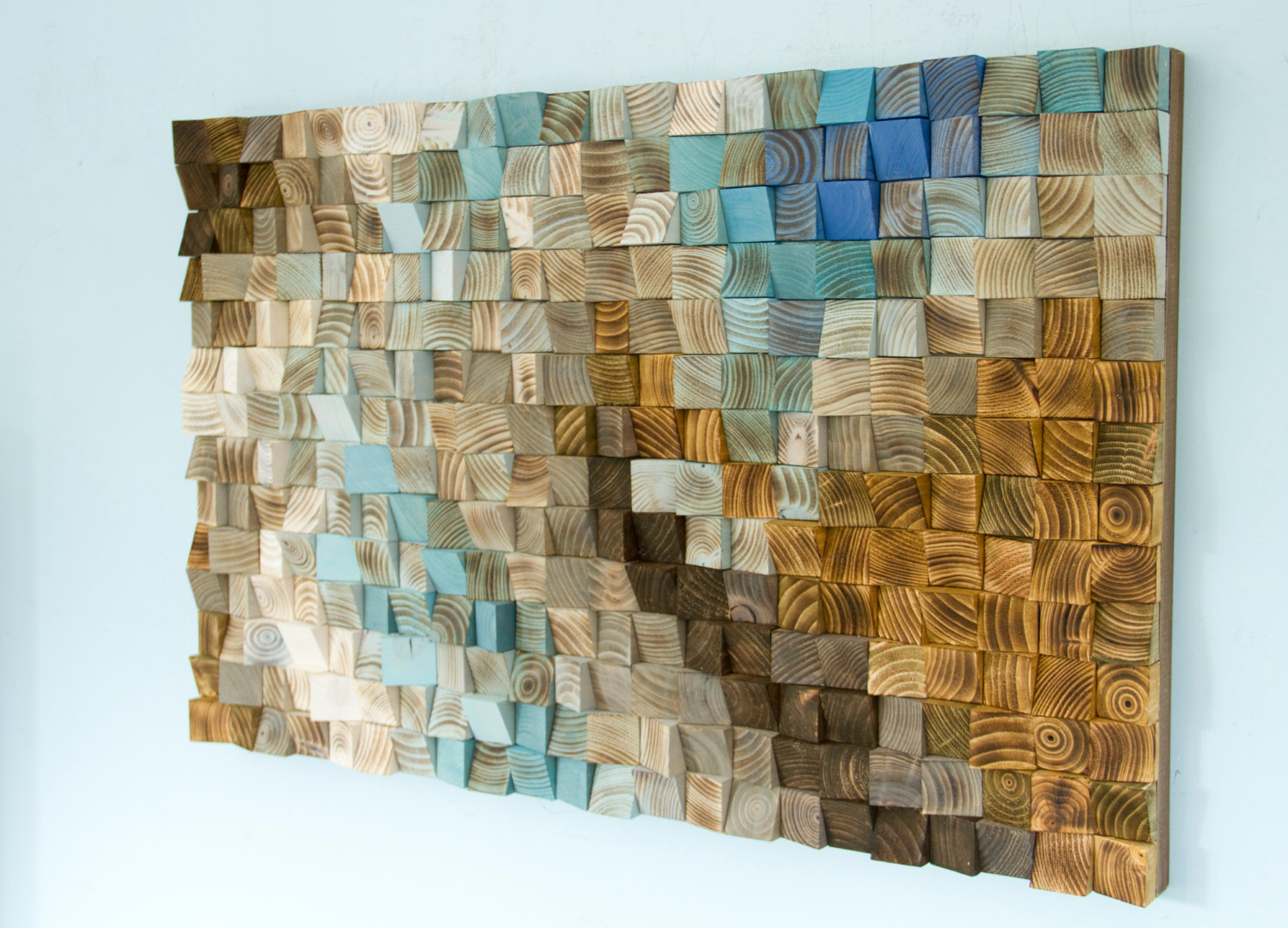 Wood wall art mosaic office wall decor geometric art 24 for Wall artwork paintings