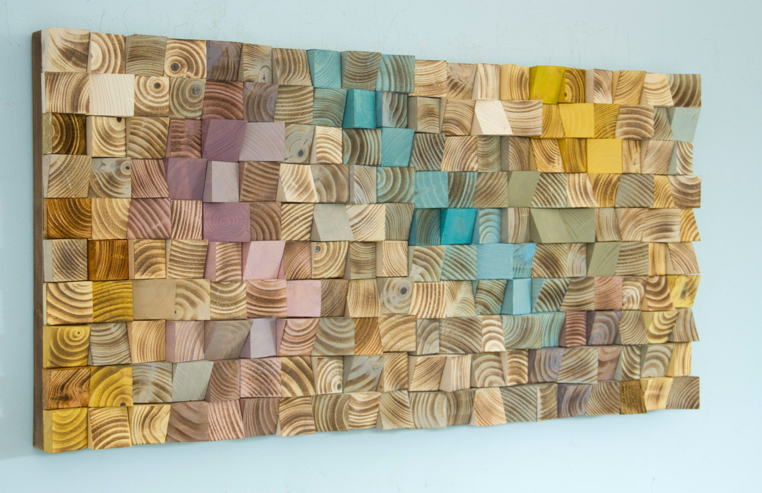Wood Wall Art, mosaic wodd art, geometric wall art