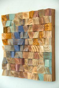 Wood Wall Art, mosaic wodd art, geometric wall art