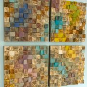 Wood Wall Art, mosaic wodd art, set of 4, geometric wall art
