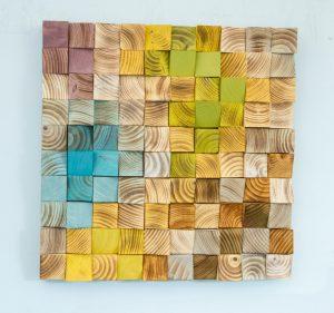 Wood Wall Art, mosaic wodd art, set of 4, geometric wall art