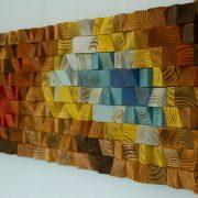 "Wood Wall Art, reclaimed wood art mosaic, ""The Northern Lights"""