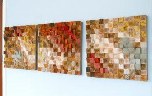 "Wood Wall Art, reclaimed wood art, ""The Earth"", set of 3"
