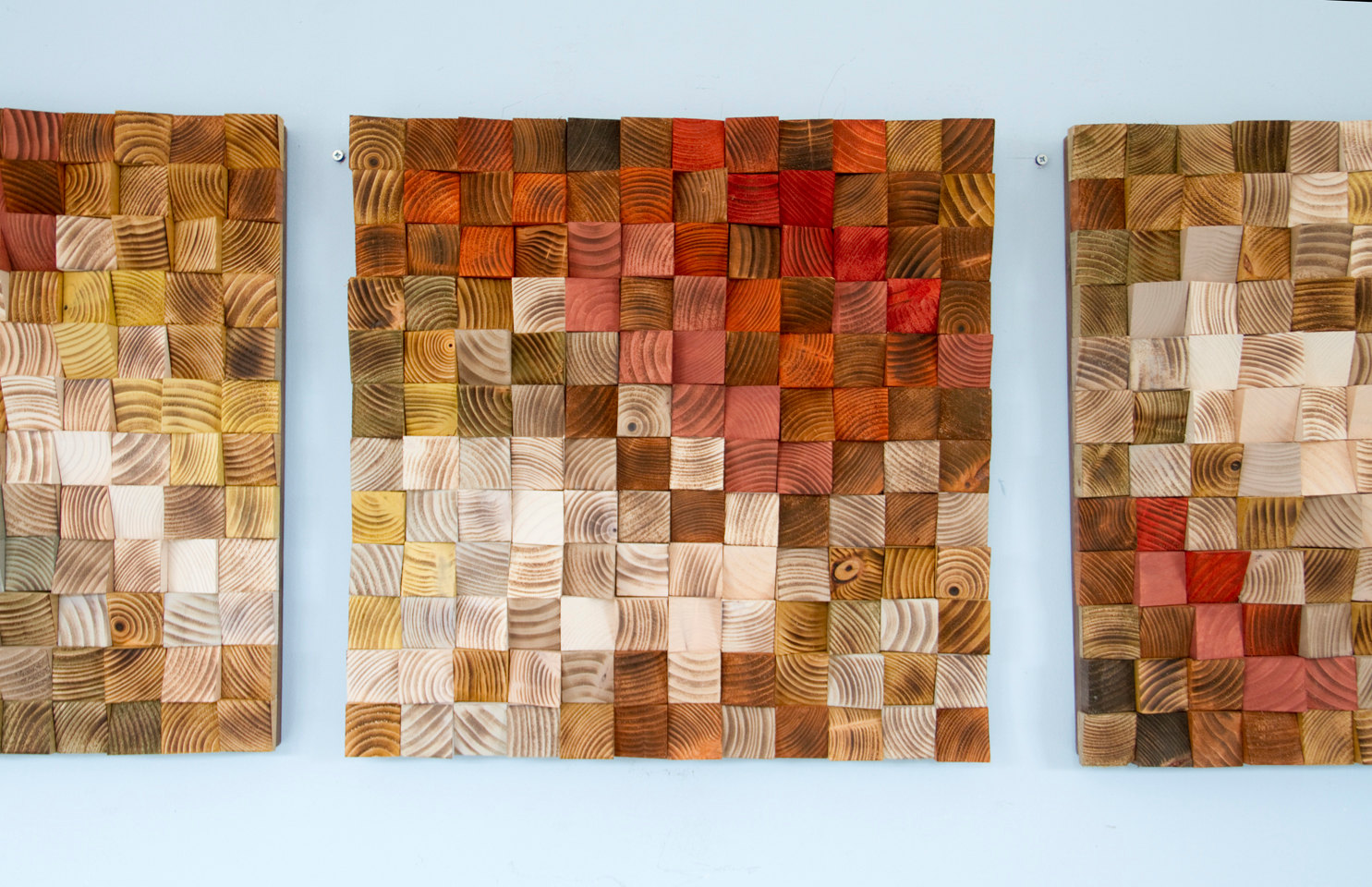 "Wood Wall Art, reclaimed wood art, ""The Earth"", set of 3"