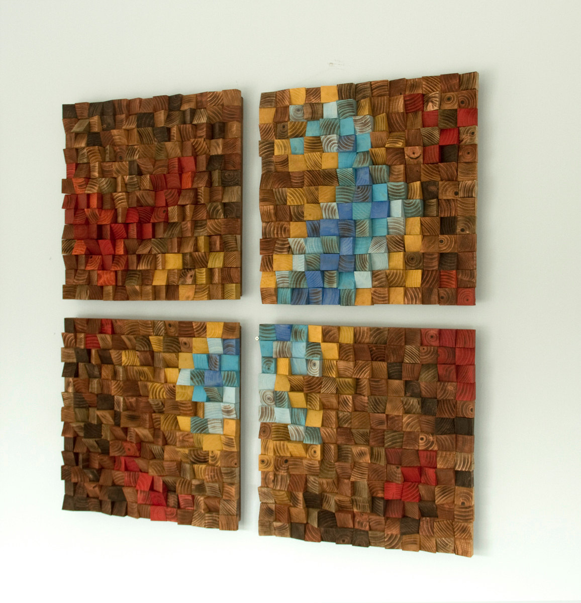 "Wood Wall Art, reclaimed wood art, ""The Northern Lights"" set of 4, SALE"