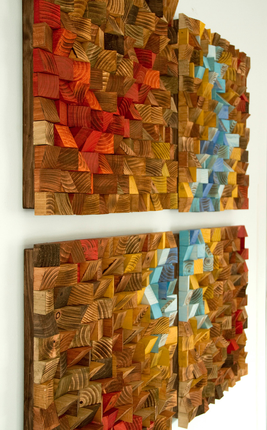Wood wall art reclaimed wood art the northern lights for Wall art for sale