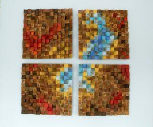 "Wood Wall Art, reclaimed wood art, ""The Northern Lights"" set of 4, SALE"