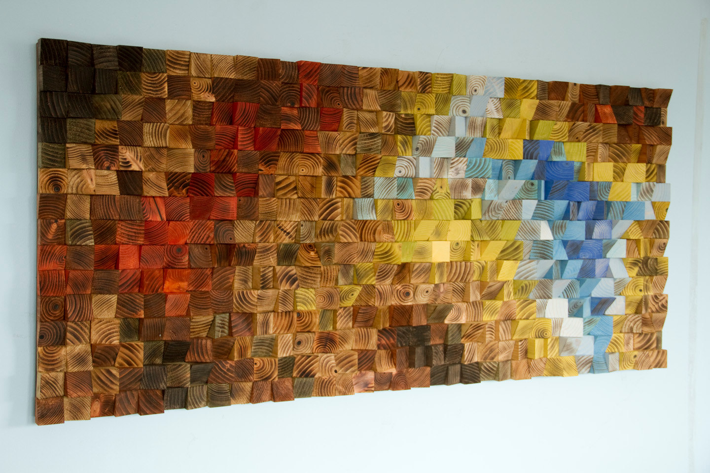 "Wood wall art, Rustic wall art ""The Northern Lights"" 24"" x 55"""