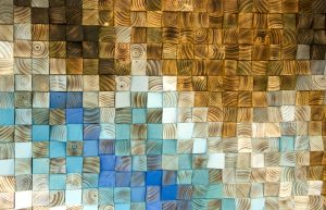 "Wood wall Art, wood mosaic, geometric art, 24"" x 36"" ""Fighting River"""