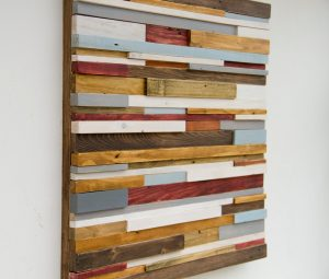 "Wood Wall Sculpture Art Rustic Industrial reclaimed wood 20"" x 20""  wood pieces grey, walnut, yew, oak, blue, white"